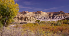 Fall trees and bushes in the badlands near Capitol Reef National Park Stock Footage
