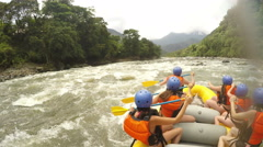 Bikini Girls On Extreme Whitewater Rafting - stock footage