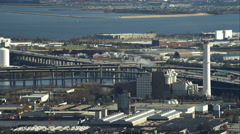 Past interchange of I-395 and I-95 in Baltimore, Maryland. Shot in November Stock Footage
