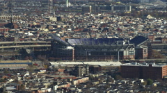 Flying close past M&T Bank Stadium in Baltimore, MarylandShot in November 2011. Stock Footage
