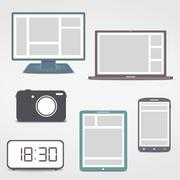 Colored Electronics Icons Stock Illustration