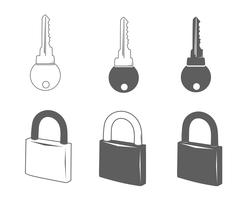 Lock and key vector icons Stock Illustration