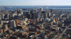 Aerial orbiting view of Baltimore MD as approached from the north. Shot in 2011. Stock Footage