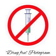 Drug free pictogram, colors Stock Illustration