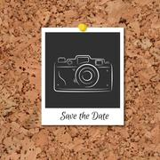 Vector corkboard with instant photo card - stock illustration