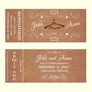 Ticket Wedding Invitation with hangers for bride - stock illustration