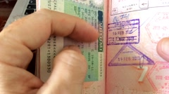 Passport International Travel Stamps Stock Footage