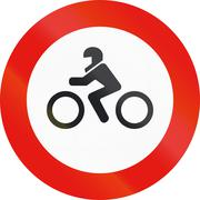 Road sign used in Spain - Entry forbidden to motorcycles - stock illustration