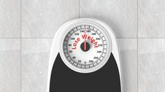 Bathroom scale with Lose Weight message on dial, on bathroom floor - stock illustration