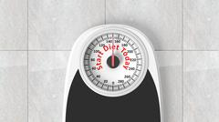 Stock Illustration of Bathroom scale with Start Diet Today message on dial, on bathroom floor