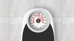 Bathroom scale with Start Diet Today message on dial, on bathroom floor - stock illustration
