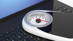 Stock Illustration of Bathroom scale on laptop keyboard