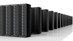 Stock Illustration of Network servers data center, isolated on white background with reflections.