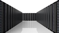 Stock Illustration of Network servers data center room, on white background with reflections.
