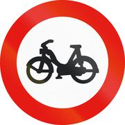 Road sign used in Spain - entry forbidden to mopeds - stock illustration