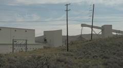 Industry, mine conveyor belt waste wide shot Stock Footage