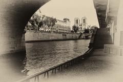 Retro style picture of Notre Dame de Paris cathedral; high noise added - stock photo