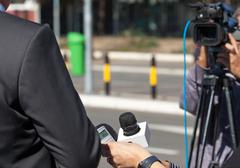 TV interview. news conference. Stock Photos