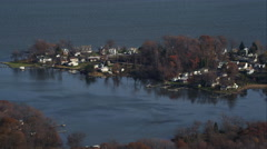 Approaching waterfront residential area east of Baltimore, Maryland. Shot in Stock Footage