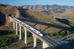view of a high-speed train crossing a viaduct in Purroy, Zaragoza, Aragon, Spain - stock photo