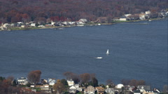 Over Chesapeake Bay east of Baltimore, Maryland. Shot in November 2011. Stock Footage
