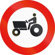 Road sign used in Spain - Forbidden entry to agricultural motorized vehicles - stock illustration