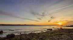 Sunset to Dusk Pan Timelapse Tamarist Beach, Morocco Stock Footage