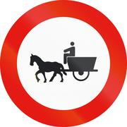 Road sign used in Spain - Forbidden entry to animal-drawn vehicles Stock Illustration