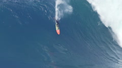 Stock Video Footage of MAUI, HAWAII.  Big Wave Surfing Wipeout. Surfer Crashes on
