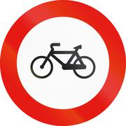 Road sign used in Spain - Forbidden entry to cycles - stock illustration