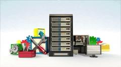 Fallng fixed server cloud contents, programing software contents. Stock Footage