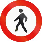 Road sign used in Spain - Entry forbidden to pedestrians Stock Illustration