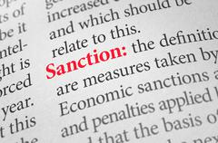 Definition of the word Sanction in a dictionary Stock Photos