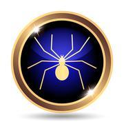 Stock Illustration of Spider icon. Internet button on white background..