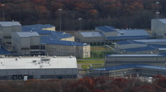 Orbiting South Woods Correctional Facility near Bridgeton, New Jersey. Shot in Stock Footage