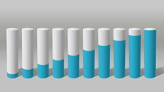Increase economic graph. 3D Cylinder circle Bar Chart 2 Stock Footage