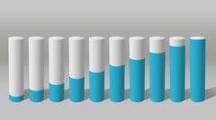 Increase economic graph. 3D Cylinder circle Bar Chart 2 - stock footage