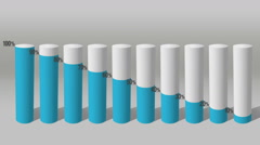 Decrease economic graph. 3D Cylinder circle Bar Chart 1. - stock footage