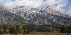 Grand Teton mountain range at Grand Teton National Park Wyoming Stock Footage