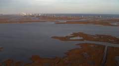 Approaching Atlantic City from marshland in west. Shot in November 2011. - stock footage