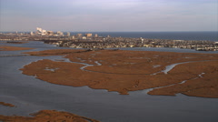 Approaching Atlantic City New Jersey from marshland in west. Shot in November Stock Footage