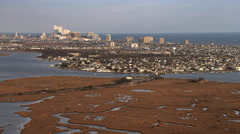 Approaching Atlantic City, New Jersey from marshland. Shot in November 2011. - stock footage