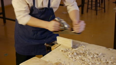 Carpenter labor master work with wood Stock Footage