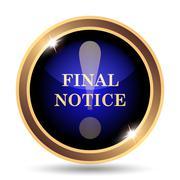 Final notice icon. Internet button on white background.. Stock Illustration