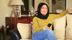 Muslim woman having waist pain Stock Footage