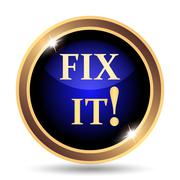 Fix it icon. Internet button on white background.. - stock illustration