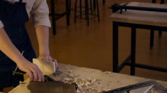 Carpenter labor master work with wood - stock footage
