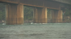 Bridge piers river, Columbia River, BC, strong current Stock Footage