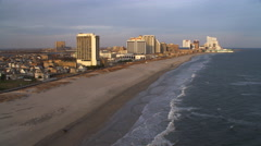 Aerial view of Atlantic coast by boardwalk area of Atlantic City. Shot in 2011. Stock Footage