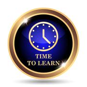 Time to learn icon. Internet button on white background.. - stock illustration